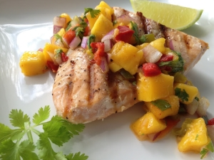 Salmon With Blueberry-Mango Salsa
